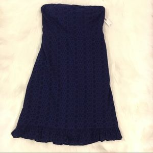 Old Navy Blue strapless eyelet dress
